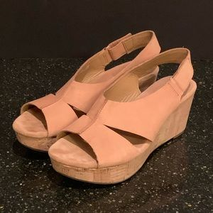 Clarks Artisan Lizzie Cork Wedge Nubuck Sandal